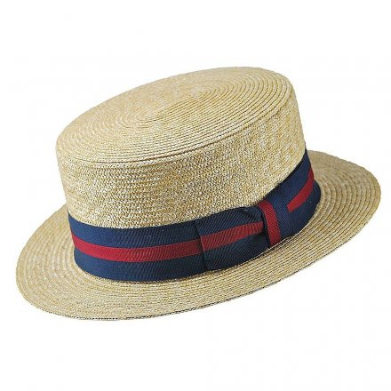 Hüte - Straw Boater Hat Striped Band (natur)