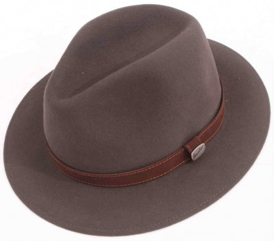 Hüte - Borsalino Alessandria Leather Band Fedora (grau)