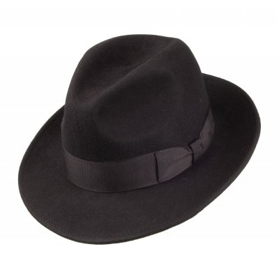 Hüte - Crushable Pinch Crown Fedora (schwarz)