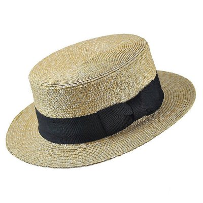 Hüte - Straw Boater Hat Black Band (natur)