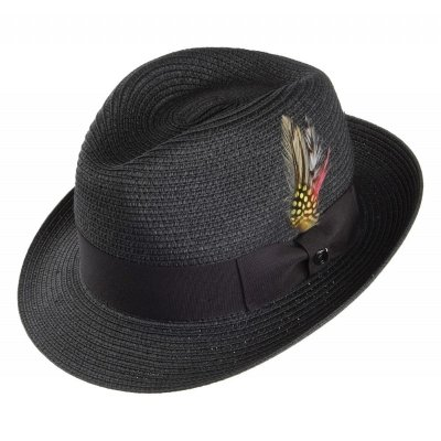 Hüte - Pinch Crown Straw Trilby (schwarz)